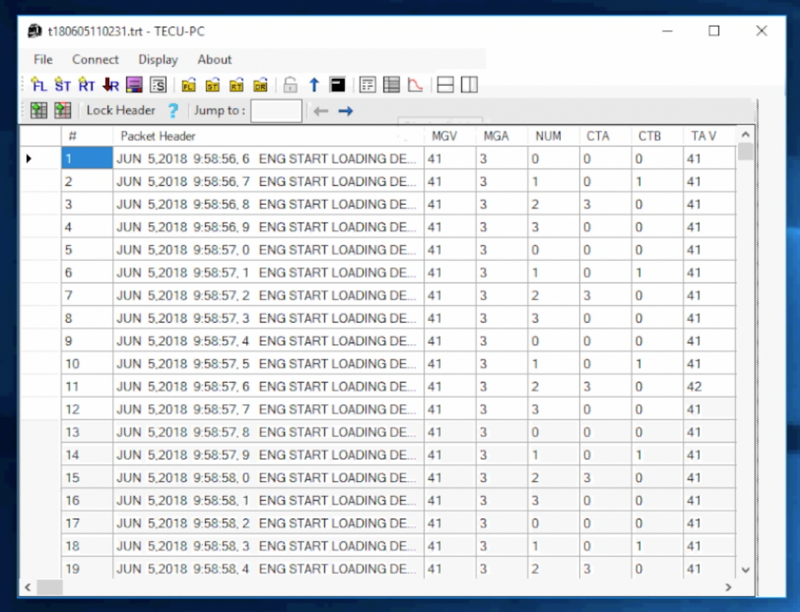 Tabular form, to see exact time stamps of specific data channels