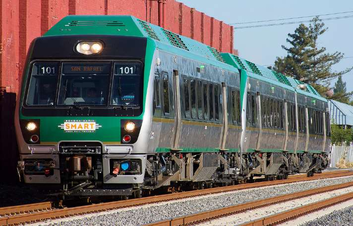 green and silver California DMU passenger train from SMART