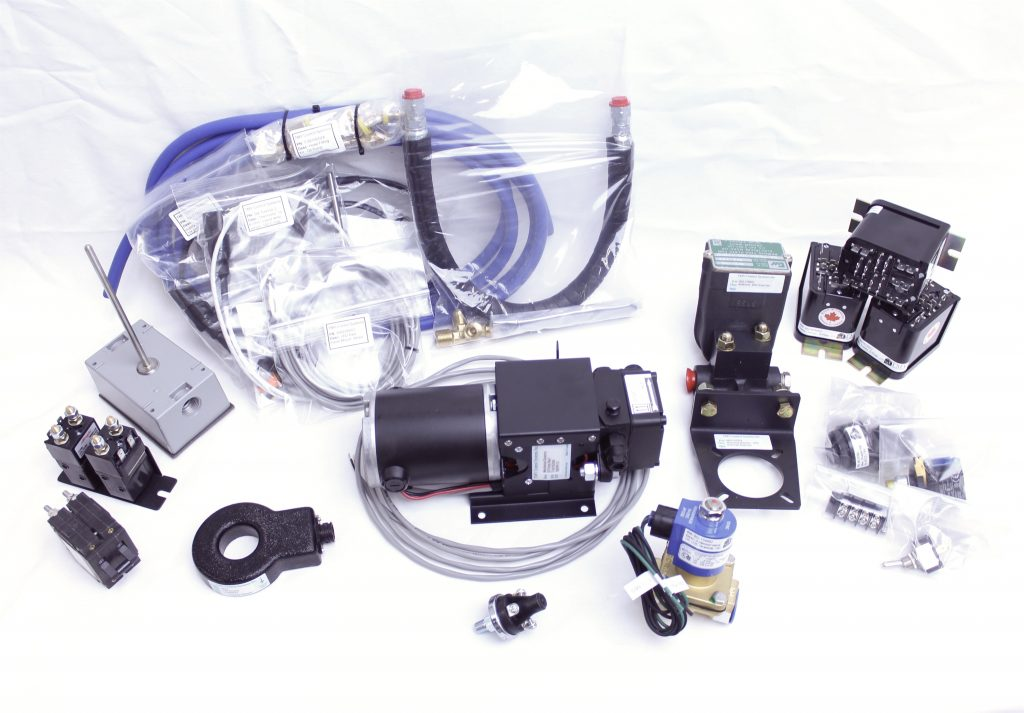 Automatic Engine Start Stop AESS products displayed on a white background, complete kit and how it looks before shipping