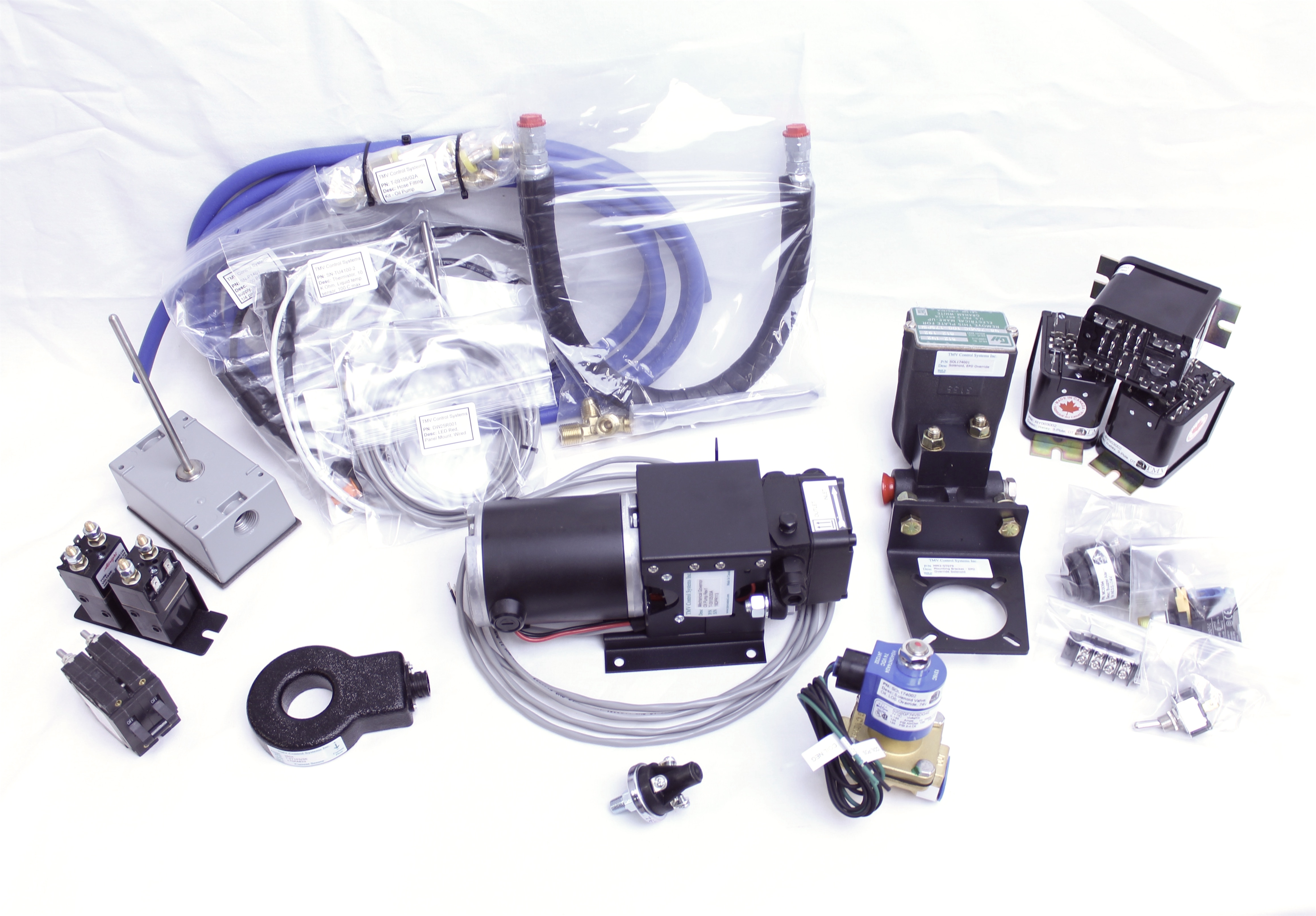 Auto-start kit, includes relays, sensors, switches, governor oil pump, and more