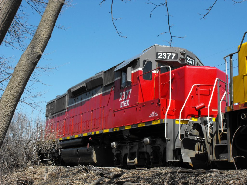 Red LTEX parked in november #2377 GP39
